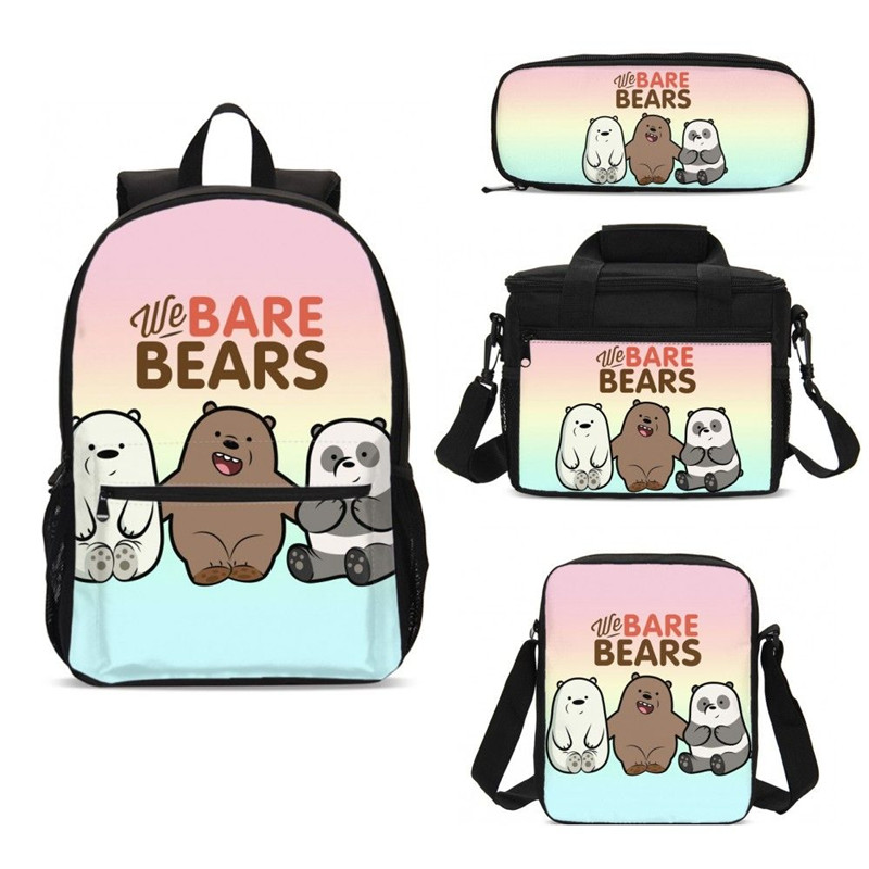 4Pcs/Set Portfolio School Bags For Boys Girls Cartoon Bare Bears Letter 3D Printing Backpacks Casual Daypacks Mochila Escolar