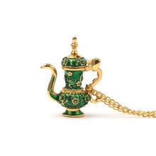 Retro Teapot Pendant Long Chain Necklace Enamel Green Gothic Style Necklace Jewelry Jasper Gives Woman a Valentine's Day Gift(China)