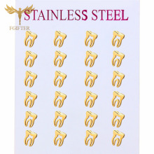 Jewelry Earrings Stainless-Steel Gold Tooth-Design Girls Wholesale Child Cute Boys