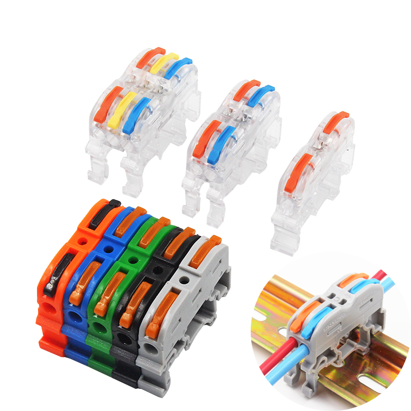 Rail Terminal Block Cable Connector Line Transparent Type Grey Colored 32A RF, Lighting Universal Compact Fast Color RUOXI 211