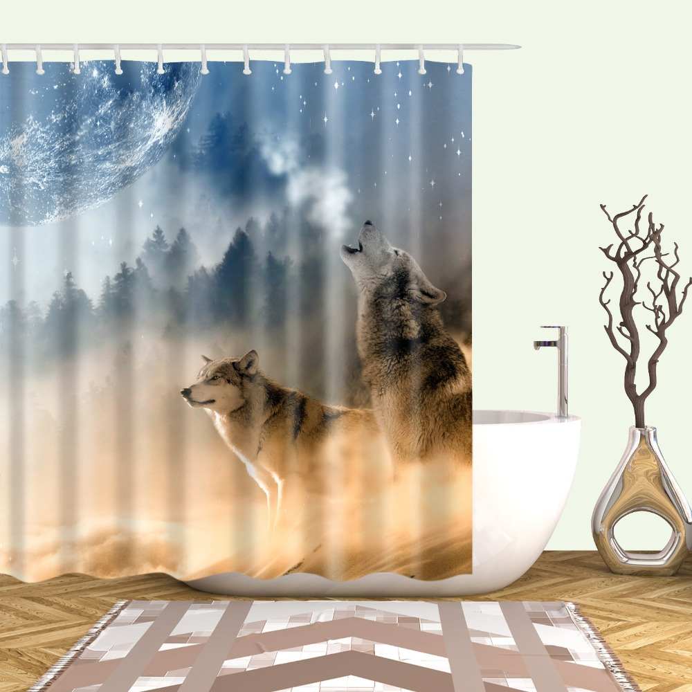 Animals Fish Wolf Flamingo Owl Cat Elephant Shower Curtains Frabic Waterproof Polyester Bathroom Curtain With Hooks 180x180cm Shower Curtains    - AliExpress