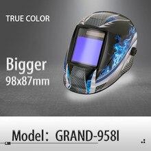 Casco de soldadura de oscurecimiento automático/Máscara de Soldadura de Color verdadero/Color Real MIG MAG TIG/4 sensor de arco/célula Solar (Grand-918I/958I)