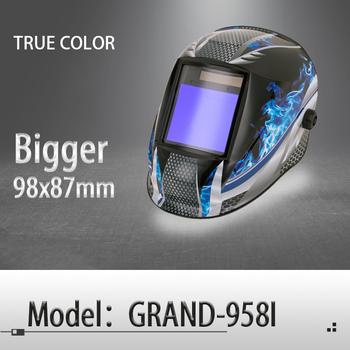 Automatyczne przyciemnianie kask spawalniczy maska do spawania prawdziwy kolor rzeczywiste kolory do spawania MIG MAG TIG 4 czujnik łuku ogniwo słoneczne (Grand-918I 958I) tanie i dobre opinie XIDIN Rohs CN (pochodzenie) NYLON Stepless Adjustable(Inside) 0 1ms Solar cell Replaceable Li-batteries 98x87mm Grand-918I 958I FLAME