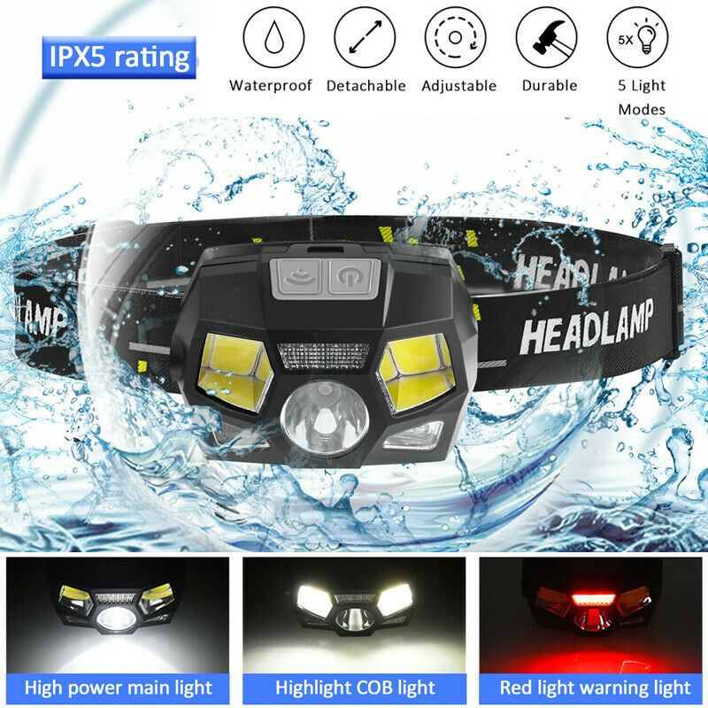 Headlamp Super Bright Waterproof Head Torch Headlight LED Night Vision USB Rechargeable Headlamp For Fishing Camping Climbing