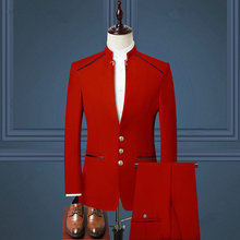 Custom Made 2021 Costume Homme Red Mens Suits With Pants Wedding Tuxedos Stand Collar Groom Wear Formal Prom Men Suit Blazer