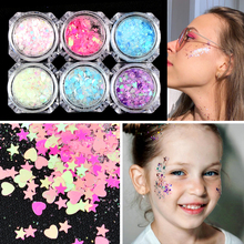 Nail-Art Pigment-Powder Sequin Heart-Shaped Shinning Glitter-Flakes Holographic Spangle