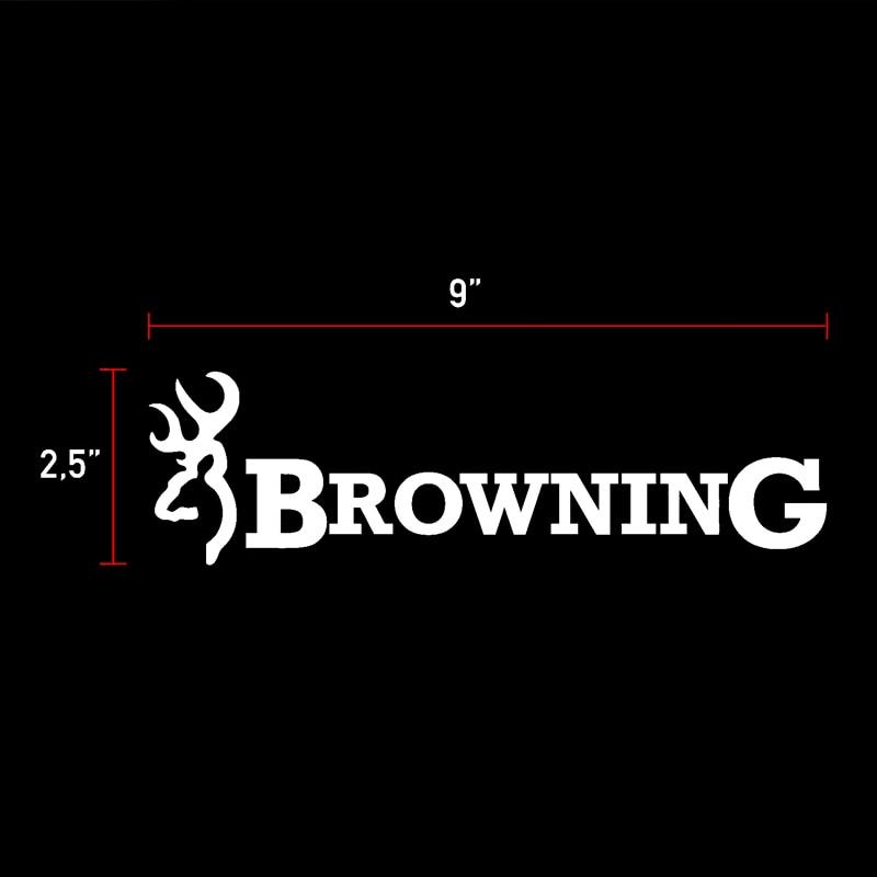 HotMeiNi 2x Browning Hunt Deer Buck Chasse Sticker Vinyl Car Decal White