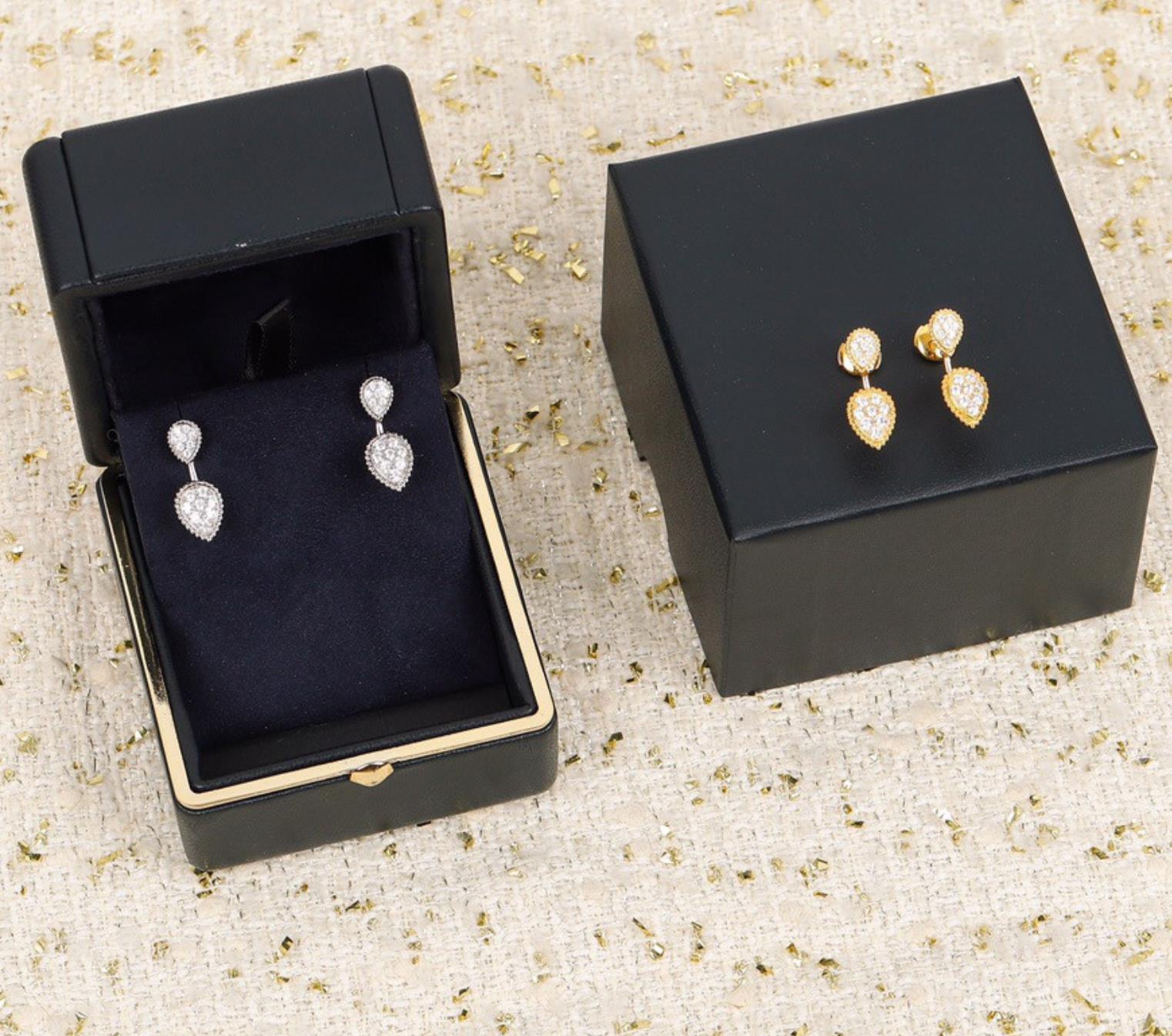 Top Famous Brand Pure 925 Sterling Silver Fine Jewelry For Women Zircon Water Drop Luxury Gold Color Earrings Europ Design Gift