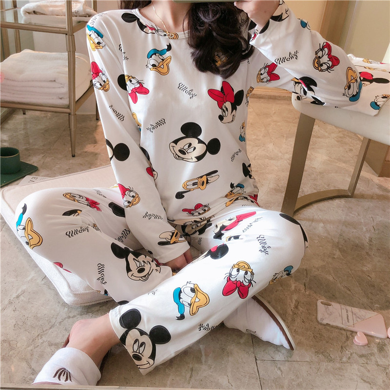 Mickey Duck Anime Pajamas Sets Long Sleeve Sleepwear Suit Cartoon Home Women Pajamas Nightwear Warm Spring And Autumn