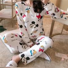 Mickey Duck Anime Pajamas Sets Long Sleeve Sleepwear Suit Ca