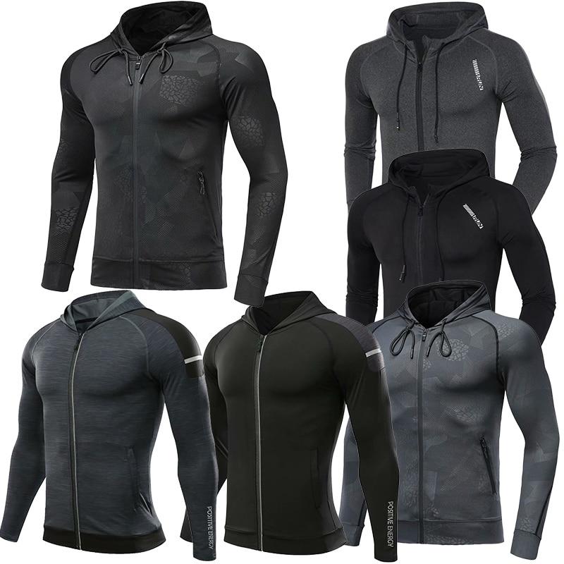 Men Brand Hoodies Gym Sport Running Training Fitness Bodybuilding Sweatshirt Outdoor Sportswear Male Hooded Jacket MMA Dry Fit