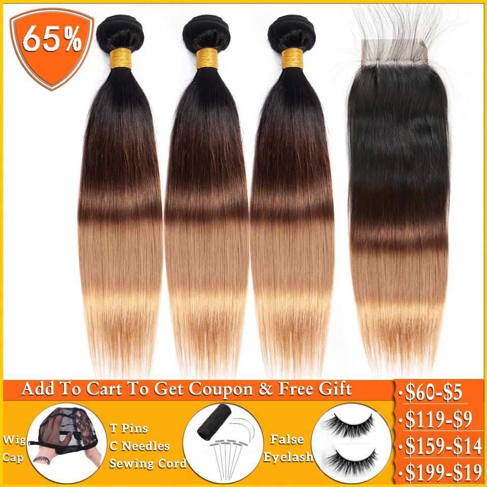 Ombre Bundles With Closure T1b/4/27 Blonde Bundles With Closure Peruvian Straight Human Hair Weave Bundles With Closure Non-remy