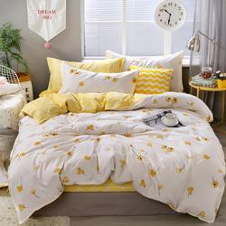 Kuning Bunga Set Tempat Tidur Mewah Bunga Selimut Penutup Set Semanggi dan Kotak-kotak Reversibel Linen Tempat Tidur Mewah Rumah Tekstil