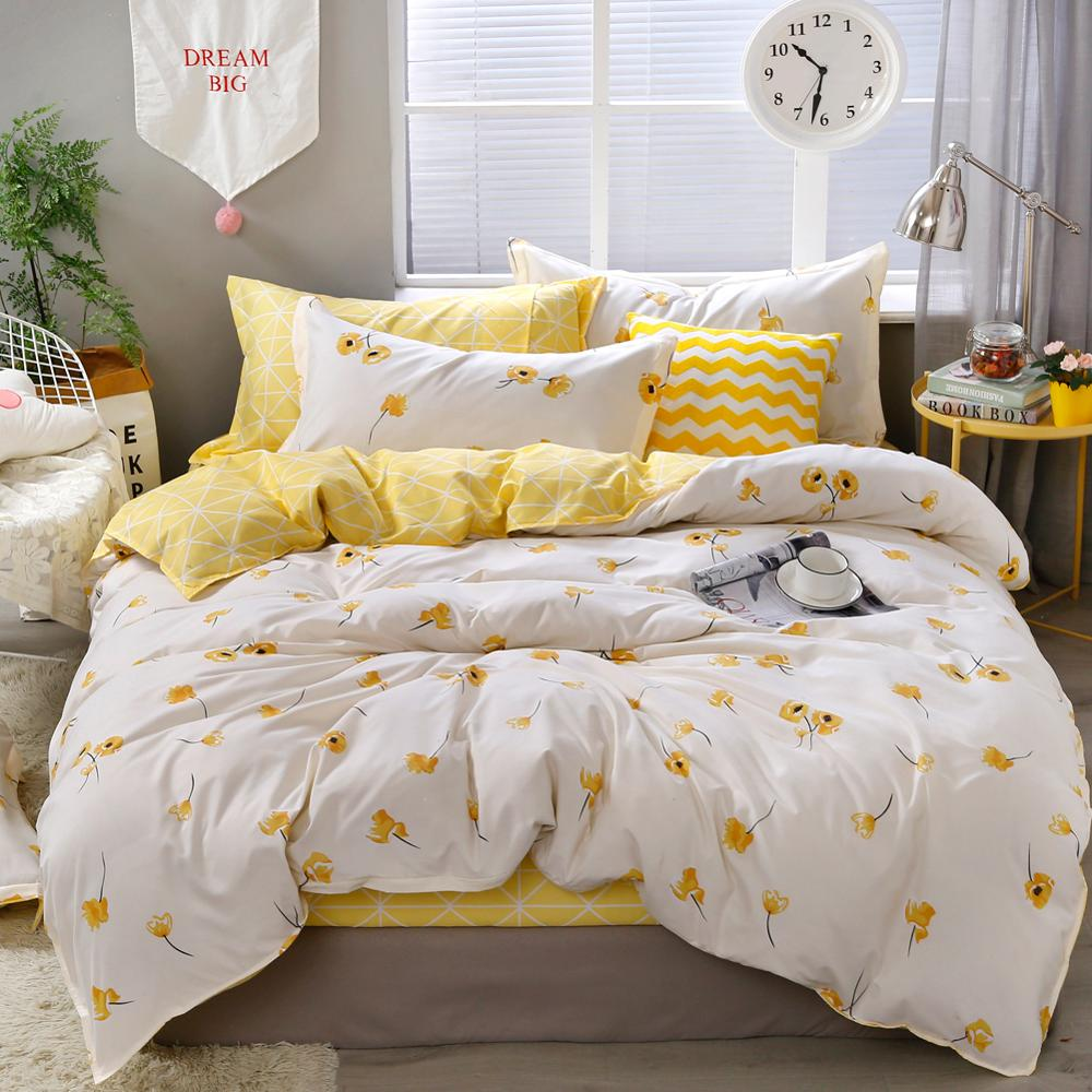 Yellow Floral Bedding Set  Luxury Flowers Duvet Cover Set Lucky Clovers And Plaid Reversible Bed Linen Luxury Home Textile