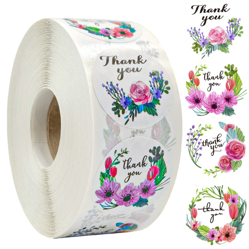500pcs/roll Thank You Stickers for Seal Labels 1 Inch Gift Packaging Stickers Birthday Party Offer Stationery Sticker 6