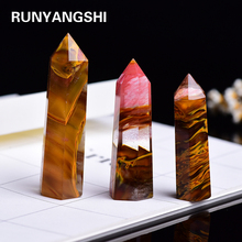 4-7cm 1pcs Artificial Tiger skin Smelting Stone crystal point hexagonal prism Ornament home decoration