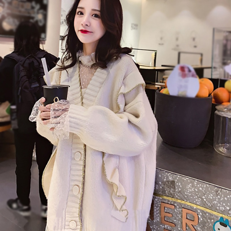 Women Casual Solid Color Button Cardigan Sweater Round Neck Vintage Sweaters Long Sleeve Loose Cardigan Warm Long Tops