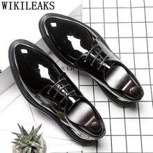 Мужская обувь; обувь из лакированной кожи на шнуровке; мужские официальные свадебные модельные туфли; мужские туфли-оксфорды; zapatos hombre vestir