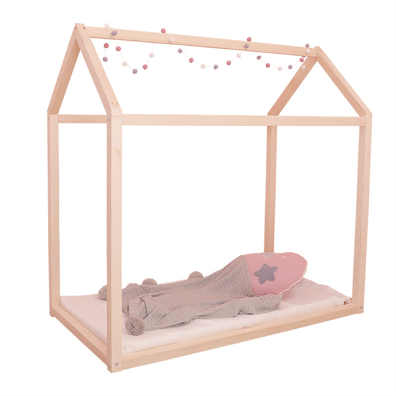 Creative Small House Design Children's Solid Wood Bed Lengthen Widen Baby Wooden Bed Combine Big Bed Child Kids Baby Crib