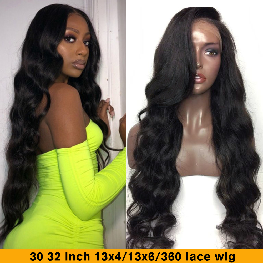 QT 30 32 Inch 180 Body Wave Wig Glueless Lace Front Human Hair Wigs 360 HD Lace Frontal Wig Pre Plucked Brazilian 13X6 Remy