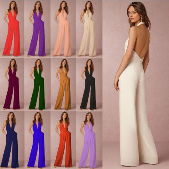 2020 Fashion Wedding Party Women Jumpsuit Sexy Sleeveless Halter Elegant Backless Wide Leg Pants Ladies Romper Overalls