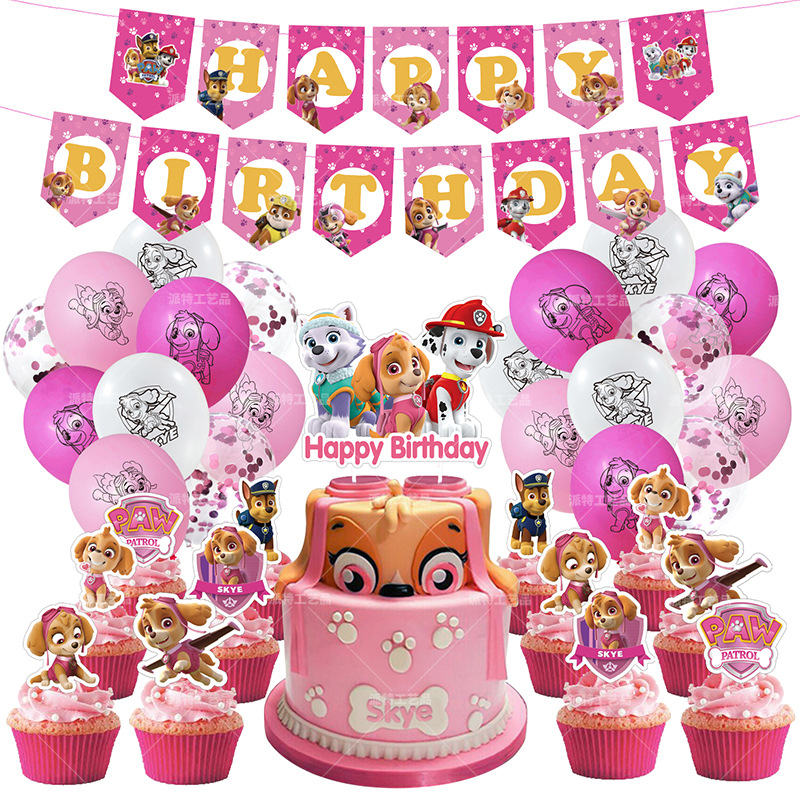 Pink Cartoon PAW Patrol Skye Themed Party Ballloons Decorations Chase Marshall Everest Kids Birthday Banner Cake Topper Toys