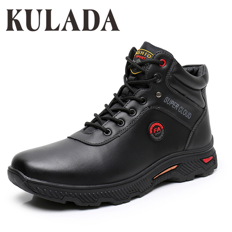 KULADA 2019 Boots Men Leather Sneakers Boots Fashion Winter Snow Warm Boots Men Lace Up Breathable Footwear Men Casual Shoes