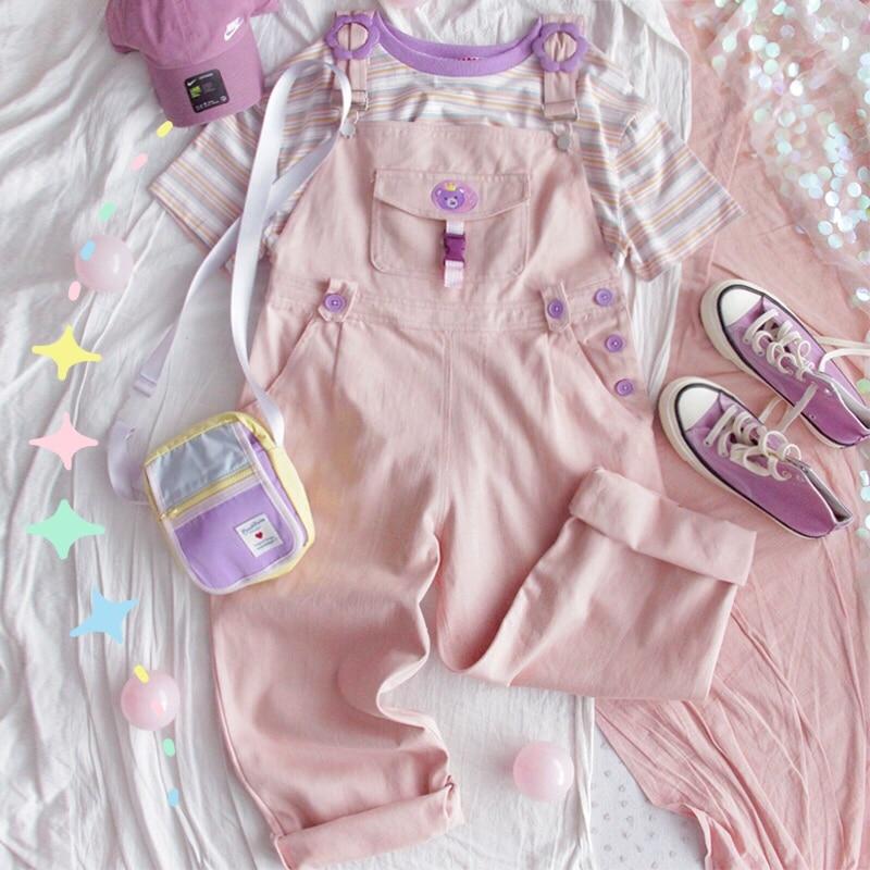 Japanese Autumn Korean Fashion Cotton Sweet Bear Button Jumpsuits Sweet Pink Soft Sister Overall Pants Women Straight Pants