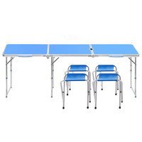 Outdoor Table and Chair Sets Foldable Portable Outdoor Table Camping Folding Table and Chairs 1.8m Adjustable Height