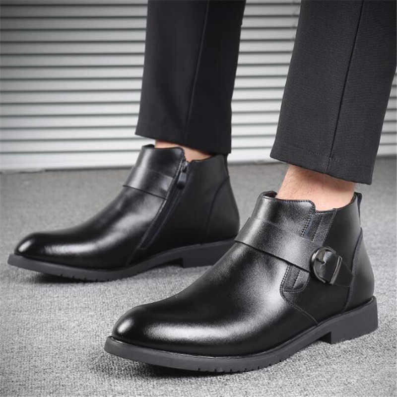 Neue Handgemachte Männer Leder Winter Stiefeletten Hohe Qualität Dicken plüsch Warme Schnee Stiefel Mode Metall Schnalle Business Kleid Schuhe