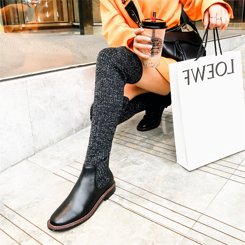 INS Hot Women Over-the-knee Boots 22-26cm Winter Boots Women Fly Knit+Cow Patent Leather Snow Boots Women Ladies Long Boots