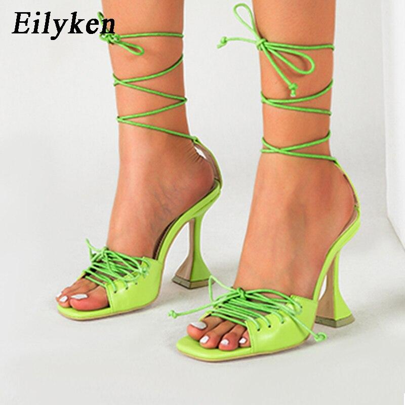 Eilyken/женские модные сандалии-гладиаторы с ремешками на лодыжках; женские сандалии на необычном высоком каблуке с открытым носком, квадратны...