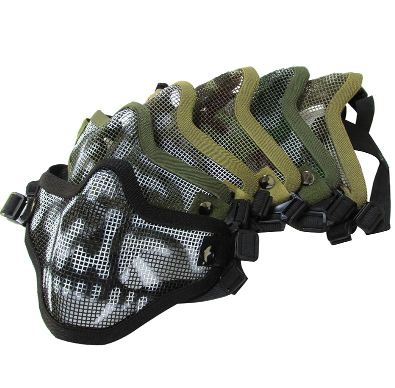 Half Face Skull Mask CS Field Face Protection CF Tactical Mouth Protection Steel Wire Mesh Water Bullet Gun Protective Mask