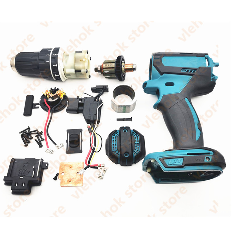 Power Tool Accessories For MAKITA DHP482 DHP482RME DHP482RAE DHP482RFE DHP482Z Armature Rotor Stator Field Switch Brush Holder