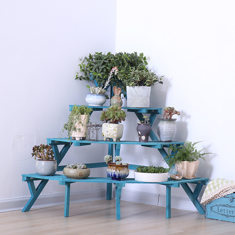 Multi Layers Plant Stand Nordic Wood Flower Rack Home Storage Floor Shelf Wood Plant Stand Corner Ladder Garden Stand Home Decor
