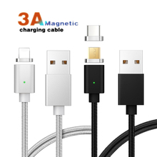 Magnetic Charging Cable for Micro Usb Type C 3A Fast Charging Adapter LED 8 Pin Micro Usb C Cable for Iphone Samsung HUAWEI snap 01 magnetic usb cable charging adapter for iphone
