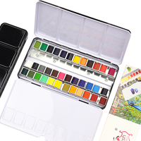 Modish 24/36 Colors Portable Travel Italian Solid Pigment Watercolor Paints Set With Water Color Brush Pen For Painting Supplies