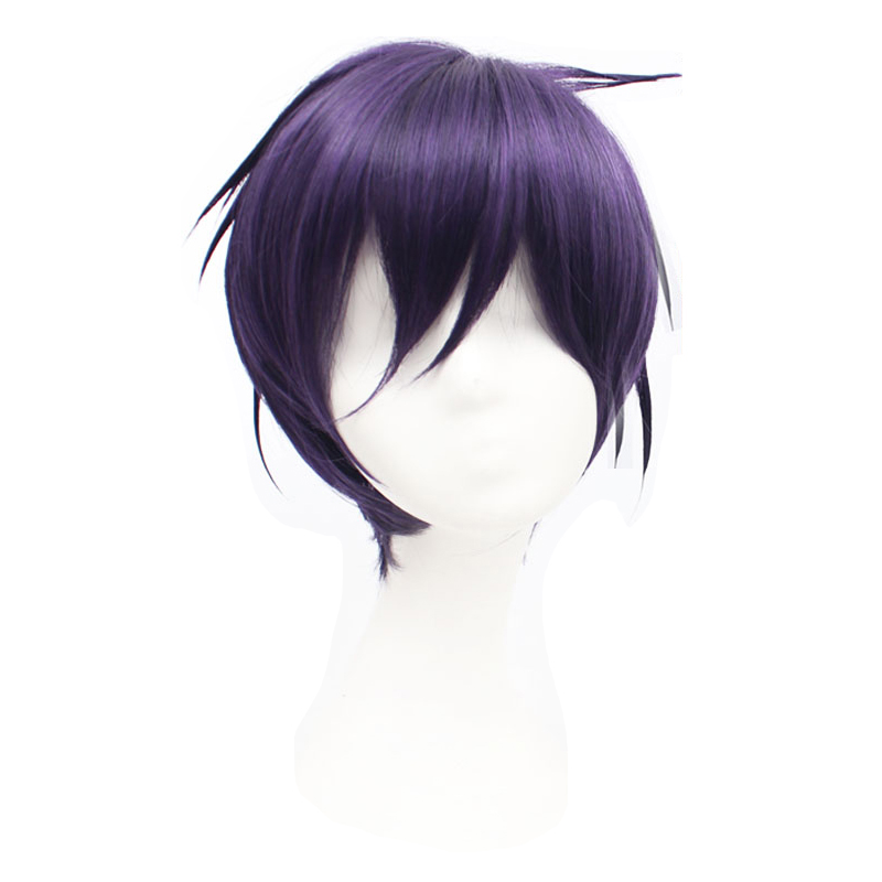 Anime Noragami YATO Wig Dark Purple Short Wig Cosplay Costume Heat Resistant Synthetic Hair Men Women Cosplay Wigs + Wig Cap