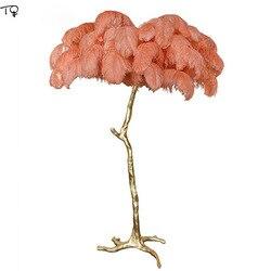Nordic lâmpada de penas avestruz pena lâmpada assoalho para sala estar decoração atmosfera romântica canto pé varanda quarto