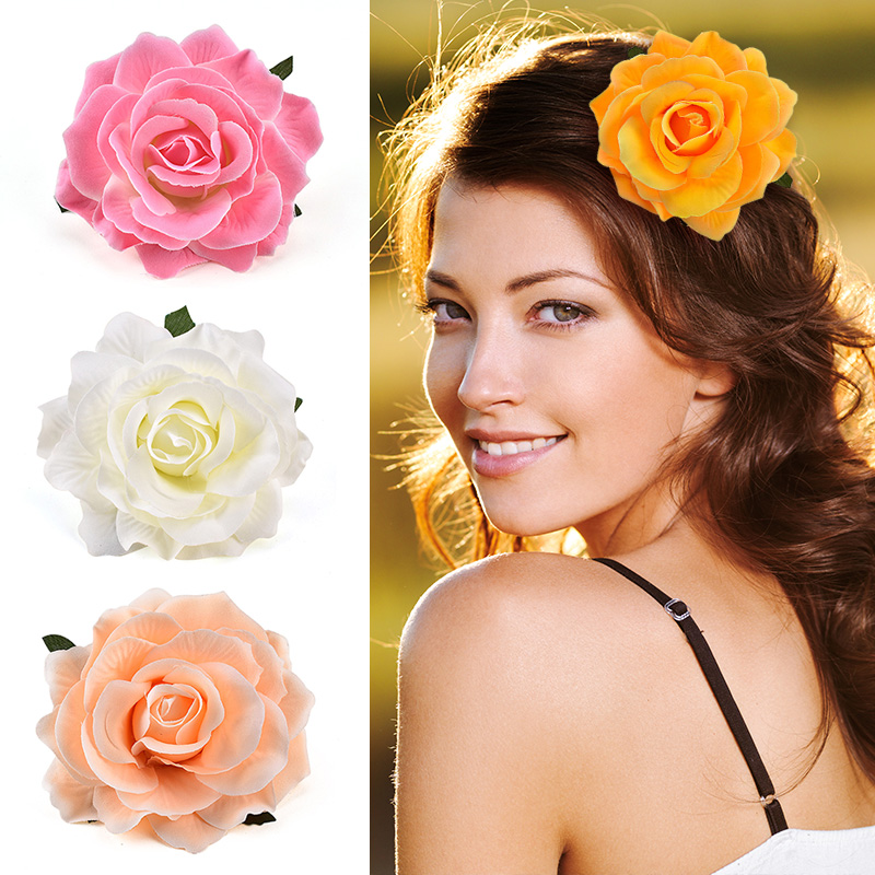 Hed Rose Artificial Flower Brooch Bridal Wedding Party Hairpin Women Hair Clips Headwear Party Girls Festival Hair Accessories