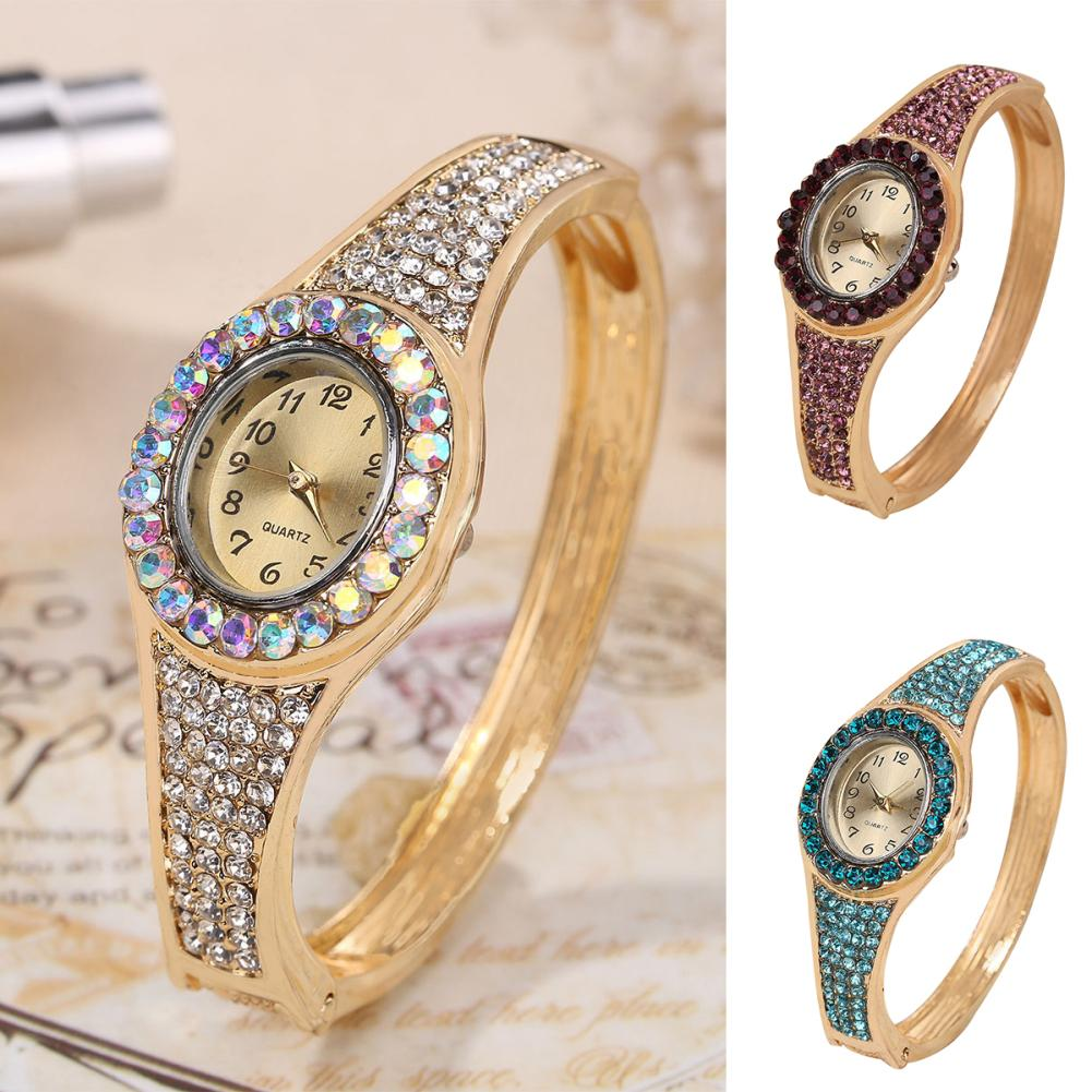 Watch Women Fashion Rhinestone Alloy Band Analog Quartz Oval Bracelet Wrist Watch Ladies Clock Gift Zegarek Damski Montre Femme