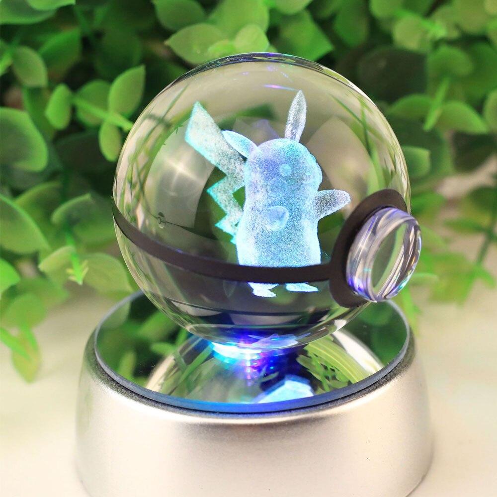 3D 5CM Crystal Pikachu Night Light Pokemon XY Lamp Mini Transparent Psyduck Charmander Christmas Decoration Pocket Monster Light