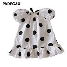 Girls Dress Puff Sleeve Ruffles Cotton Dot Kids Dresses For Girls Bow Bandage Cotton Girls Summer Dresses Baby Clothes 2020 New cheap COZOK CN(Origin) Mid-Calf O-neck Half Cute Fits true to size take your normal size NWF204 A-LINE White