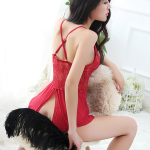 LKlady Temptation Inner Clothes Lace Open Sling Sexy Lingerie Adult Ladies Sexy Pajamas Perspective Nightdress(China)
