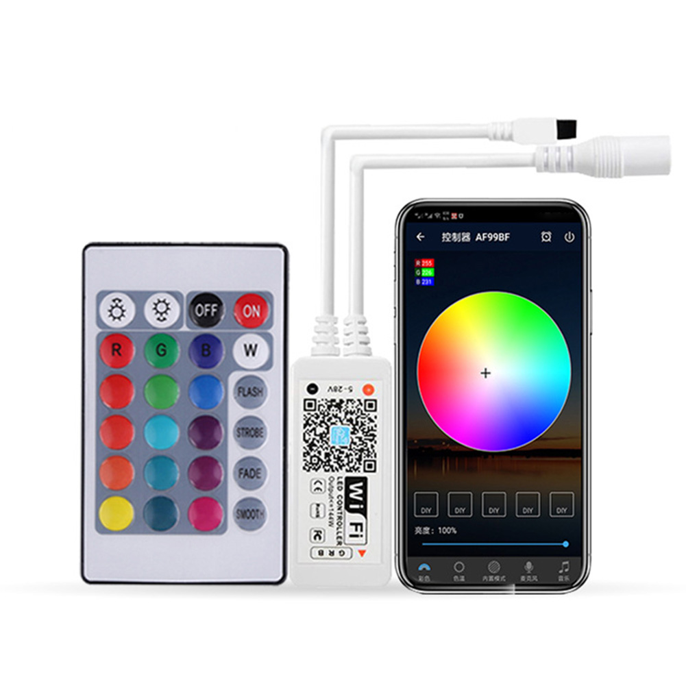 WiFi RGB Strip Light Controller Mini Led Controller Bluetooth/Wifi 24-button Alexa Voice Remote For LED Tape Lamp