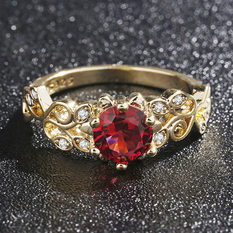Golden Classic Top-quality Ruby Ring With Zircon Classic Romantic Wedding Gift Fashion Jewelry Elegant Style Factory Price 5-10