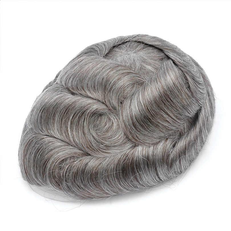 Bymc 1b mista cinza peruca de cabelo humano para todos os homens puperuano remy cabelo humano sistema substituição peruca completa do plutônio