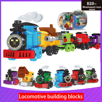 Locomotive building block toy capsule children's puzzle enlightenment assembling small particles building block Montessori Toy lok yee 6508 intelligence improving building block toy blue green yellow red