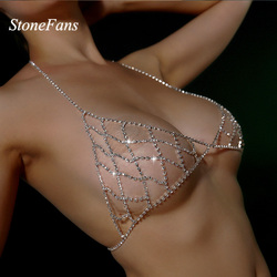 StoneFans Rhinestone Bra Chain Crystal Beach Body Jewelry Shiny Chest Harness Bikini Body Chain Women Necklace Drop Shipping