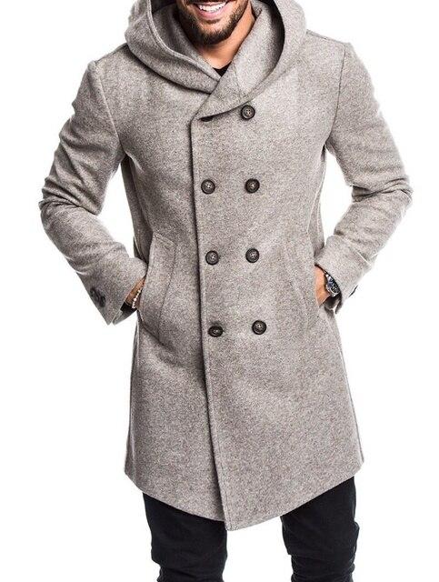 Autumn Winter Mens Long Trench Coat Fashion Coats Male Slim En Windbreaker Jacket Plus Size S-3XL
